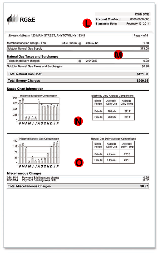 RG&E Energy Example Bill Page 4