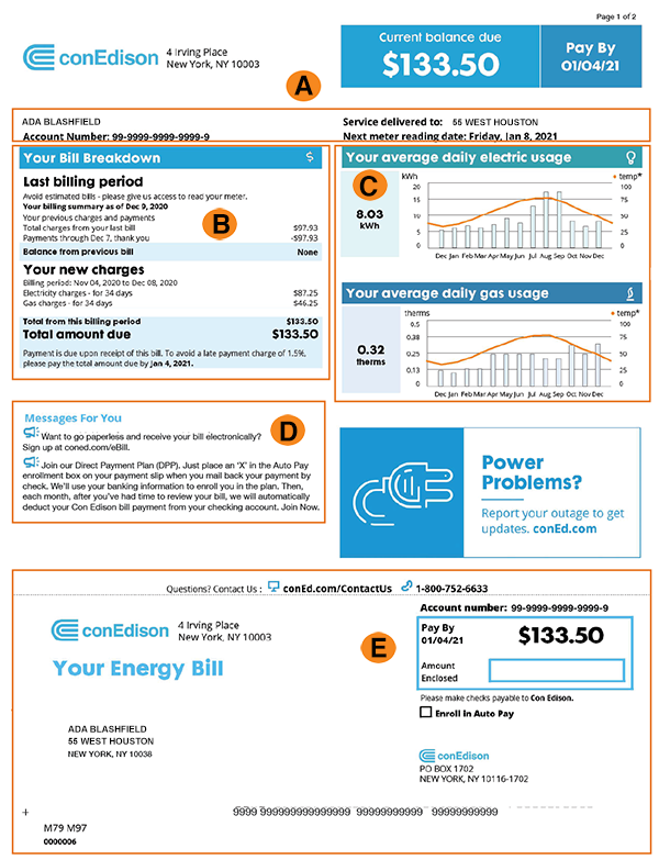 Con Ed Energy Example Bill Page 1